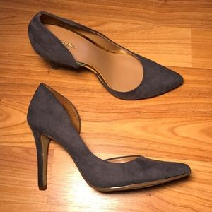 (NEW) Merona blue faux suede heels w/ gold accent